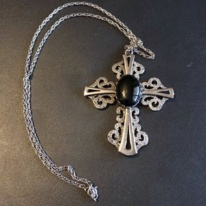 Silver and black cross necklace